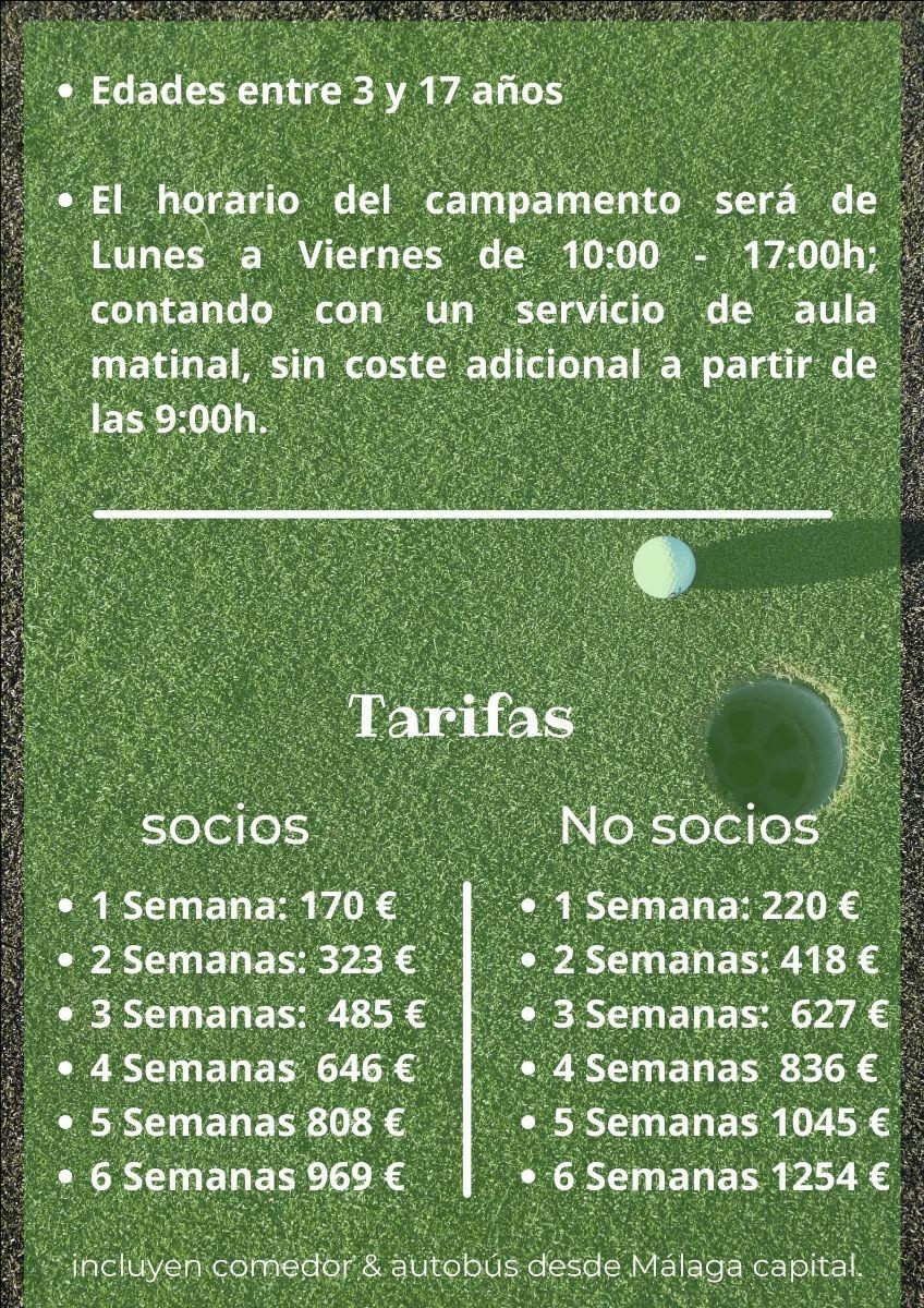 Campamento de verano 2021 guadalhorce golf precio